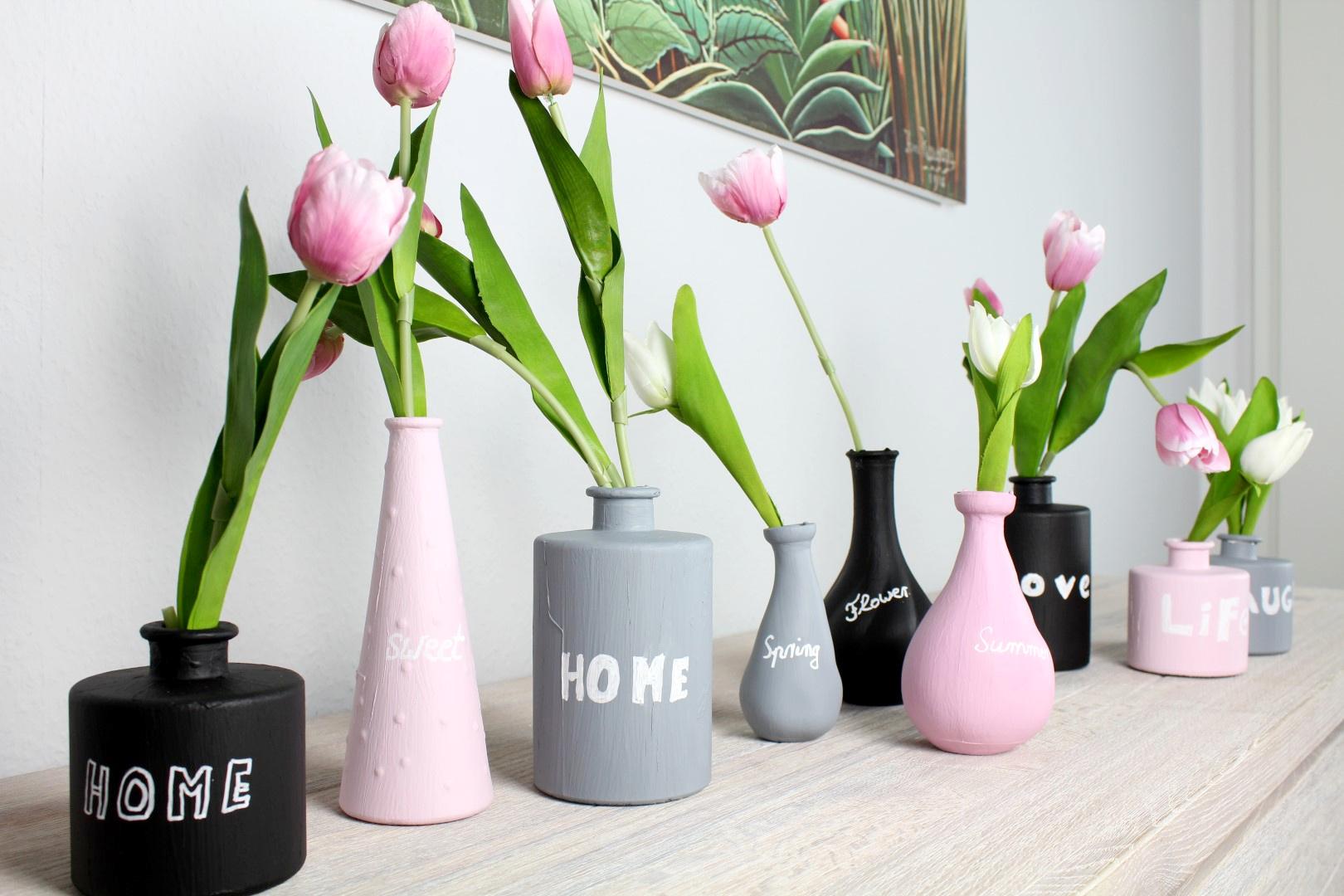 fr hlingsdeko vasen mit tafelfarbe 4. Black Bedroom Furniture Sets. Home Design Ideas